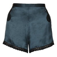 Lace Embroidered Pyjama Short - Teal