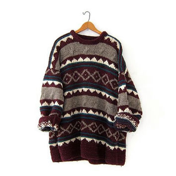 Vintage Thick Wool Sweater. Ecuador Sweater. Ethnic Sweater. Chunky Wool Knit Pullover. Hand Made Sweater.