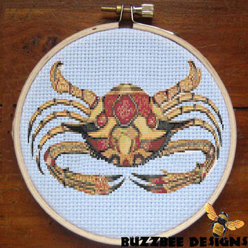 Fallour's Fantastical Crab #1 - Downloadable PDF Cross Stitch Pattern crab sea life ocean colorful vintage print brown red  INSTANT DOWNLOAD