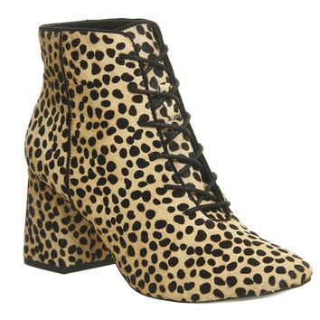 Office Lippy Flared Heel Boots Cheetah Cow Hair - Ankle Boots