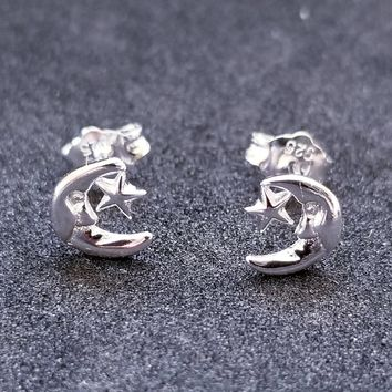 42d85d715 New 14K White Gold on 925 Sterling Silver Small Crescent Moon St