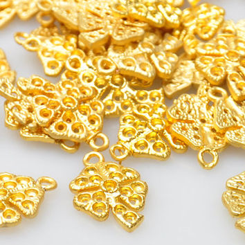 4 Pieces Gold Plated Mini Four Leaf Clover Charms, Matte Gold Shamrock Jewelry Drops, Jewelry Findings, Jewelry Making Supply