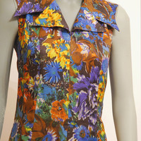 Colorful Floral Dress, Sleeveless Vintage Dress With Pointy Collar, A-line Dress, Retro Dress, Purple Yellow Blue Brown Colors