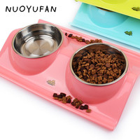 Plastic and Stainless Steel Combo double Dog Bowl