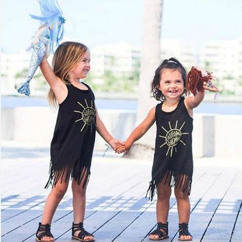 2017 New Hot Sale Toddler Kids Baby Girl Summer Clothes Sleeveless Tassel Mini Dresses Letter Sun Print summer Children clothes
