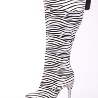 Zebra Print Spiked Knee High Boots Faux Suede