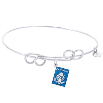 Sterling Silver Carefree Bangle Bracelet With Passport Charm