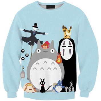 Sudaderas Mujer 2015 Casual 3D Sweatshirt Women Winter Clothing Moleton Feminino Hoodies O-neck Pullover Cartoon Totoro Print