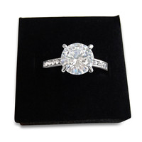 Solitaire Cubic Zirconia Diamond Ring - Rose Gold and Silver