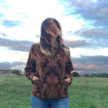 Vintage Floral TAPESTRY Western Carpet Jacket  || Olive Brown and Rose Boho Zip Up Damask Coat With Pockets || Tailored Fit || Size Medium
