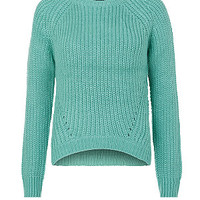 Teens Green Fisherman Knit Jumper