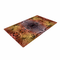"""Pia Schneider """"Floral Fall Pattern"""" Maroon Floral Woven Area Rug"""