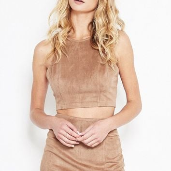 Natural Faux-Suede Racerback Crop Top