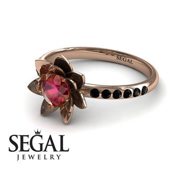 Unique Engagement Ring 14K Red Gold Flower Ruby With Black Diamond - Lotus