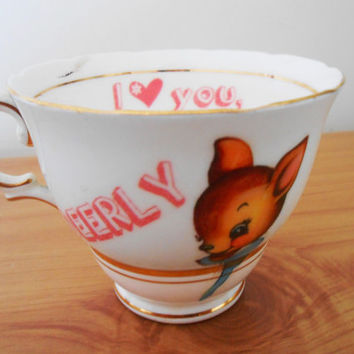 Pale Blue 'I Love You. DEERLY' OOAK Deer Upcycled Decorative Tea Cup- Bone China Teacup- Fawn Bambi- Valentines Mothers Day- Retro Pastels