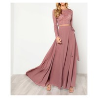 Dusty Pink Lace Crop Top Side Knot Maxi Skirt Set