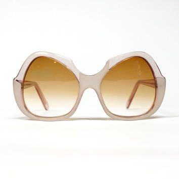 70s Oversized French Sunglasses | Butterfly shape | Gradient Lenses | NOS condition | Pink Sunglasses