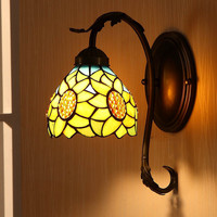 European Pastoral Warm Sunflower Wall Mirror Lamp Bedroom Bedside Lamp Aisle Stairs Corner Lamp 601W-D