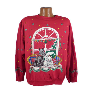 Ugly Christmas Sweater Vintage Sweatshirt Scene Dogs Westie Scotty  Party Xmas Tacky Holiday XL
