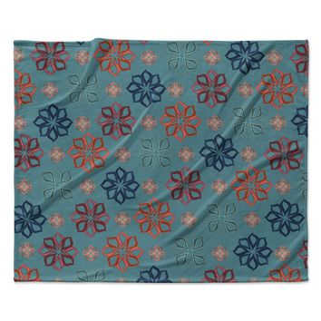 "Jolene Heckman ""Turquoise Mini"" Teal Flowers Fleece Throw Blanket"