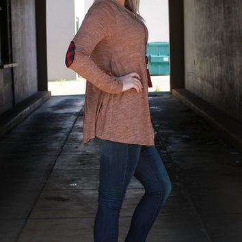 Patch It Up Tunic With Button Down Back ~ Mocha ~ Sizes 4-12