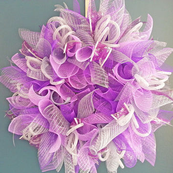 Holiday Purple and Silver Sunburst Deco Mesh Wreath