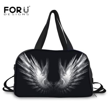 FORUDESIGNS 2018 Carry on Duffle Bag Cool 3D Wings Pattern Canvas Big Travel Bag Large Capacity Luggage Bag with Bottle Pocket