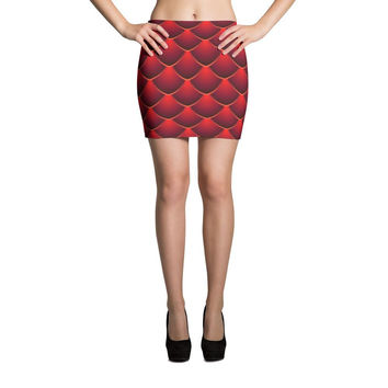 Red Dragon Scale Print Cut & Sew Mini Skirt