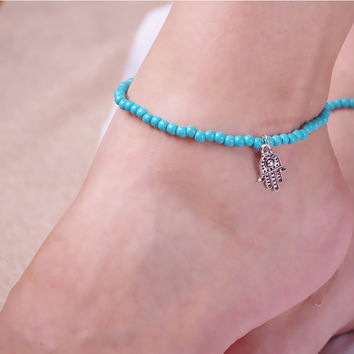 Ladies Jewelry Cute Shiny New Arrival Sexy Gift Stylish Summer Turquoise Stretch Anklet [6768774727]