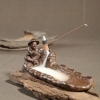 The Old Man Fishing Incense Holder Collectible Aroma Scent Burner Sculpture Figurine