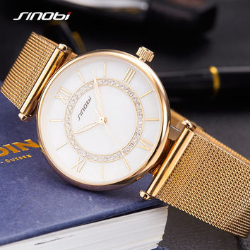 Wrist watches casual glass crystal strap metal