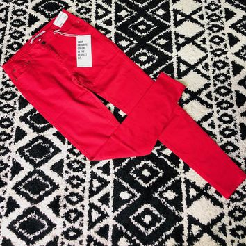 Celebrity Pink Midrise Classic Colored Skinny Jean in Red