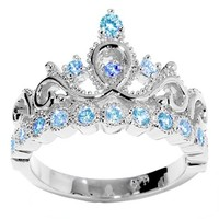 JewelsObsession's 14K Gold Princess Crown CZ Blue Topaz Ring (December Birthstone)