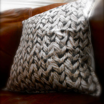 Cottage chic rustic chic knitted pattern hand made cushion pillow cover
