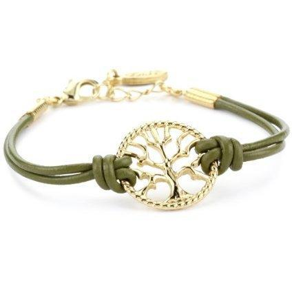 Ettika Gold Colored Tree of Life Olive Leather Bracelet - designer shoes, handbags, jewelry, watches, and fashion accessories | endless.com
