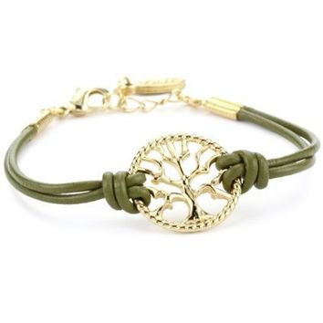 Ettika Gold Colored Tree of Life Olive Leather Bracelet - designer shoes, handbags, jewelry, watches, and fashion accessories   endless.com