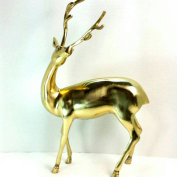Vintage Large Brass Deer Statue - Large Hollywood Regency Smooth Brass Buck Statue - Mid Century Brass Standing Buck Figurine