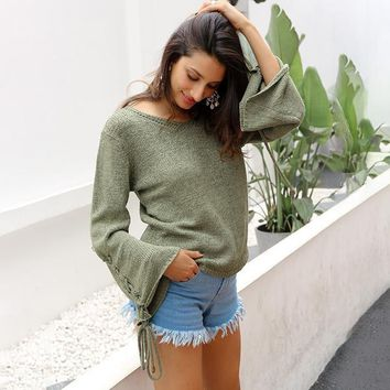 Lace Up Knitted Sweater Pullover V Neck Flare Sleeve Casual Loose Jumper