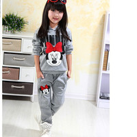 autumn winter girls clothing sets cartoon minnie mouse children's wear cotton casual tracksuits kids clothes sports suit