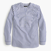 J.Crew Womens Collarless Shirt In Mixed Stripe