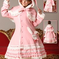 Pink Sweet Rabbit Wool Coat Lolita w/ Cape