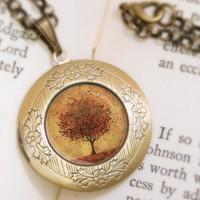 Autumn Tree Locket Necklace Bronze Locket Welcome by feverbloom