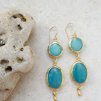 long fashion  gemstone earrings springjewelry sky turquoise blue  sea blue jade stones gold israel