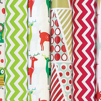 Holiday wrapping paper modern bright green & red chevron, owl owls, deer, fifties mod stars stripe trees vintage style sparkle christmas pap