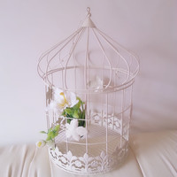Vintage Decorative Bird Cage, Shabby Chic Bird Cage , Centerpiece, Wedding Decor, Gift For Her, Home Decor