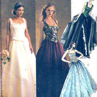 Brides Wedding Gown Romantic McCalls 3676 Sewing pattern Party Prom Grad Evening elegance Sz 6 to 10 UNCUT