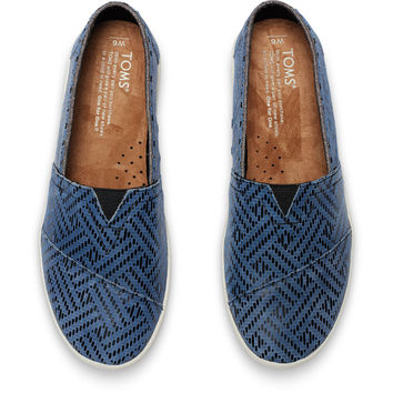 BLUE LEATHER REPTILE WOMEN'S AVALON SLIP-ONS