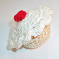Crocheted vanilla cupcake, Organic catnip cat toy muffin