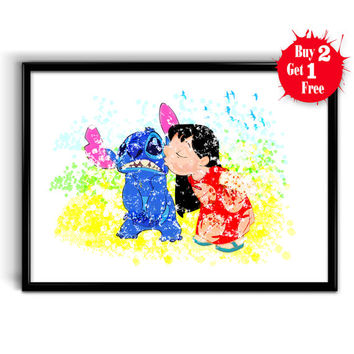 Lilo and Stitch Watercolor Poster Print, Canvas print, Art Giclee Wall Decor, Nursery Decor