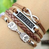 Infinity, BestFriend, Owls & brown leather Cord Bracelet, idea Cord Bracelet - Personalized, Friendship girlfriend and BFF gift